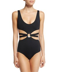 Proenza Schouler Cutout One Piece Swimsuit W Center Ring Black