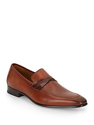 Mezlan Crocodile Strap Leather Loafers Cognac