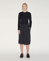 Comme Des Garcons Dot Print Skirt Navy Off White