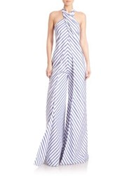 Ralph Lauren Adelaide Striped Wide Leg Halter Jumpsuit White