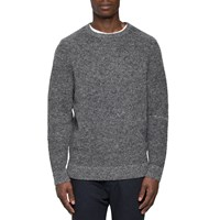 Folk Grey Melange Stripe Wool Jumper