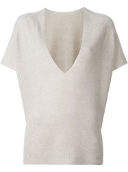 Helmut Lang V Neck Sweater Grey