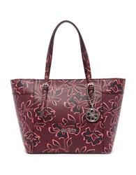Guess Delaney Small Floral Printed Tote Bordeaux Multi
