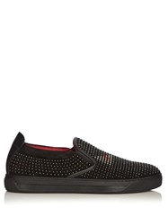Fendi Bag Bugs Studded Slip On Suede Trainers Black Multi