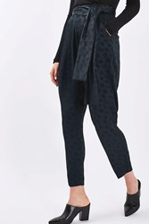 Boutique Jacquard Carrot Leg Trousers By Navy Blue