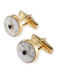 Bergdorf Goodman 14K Mother Of Pearl Cuff Links With Sapphire