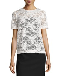 Monique Lhuillier Short Sleeve Lace Blouse W Embellished Neck Women's