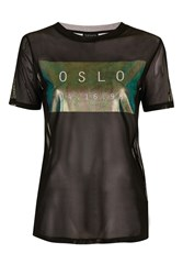 Topshop Tall Oslo Holographic Mesh Tee Black