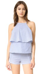Minkpink French Twist Tiered Cami Blue White