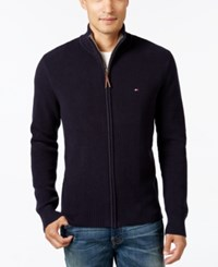Tommy Hilfiger Men's Fabian Full Zip Sweater Midnight