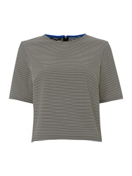 Therapy Stripe Ribbed Shell Top Black White