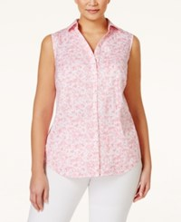 Charter Club Plus Size Printed Button Down Shirt Only At Macy's Strawberry Pink Combo