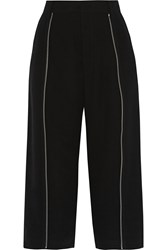 Mcq By Alexander Mcqueen Zip Embellished Crepe Wide Leg Pants Black