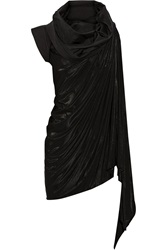 Rick Owens Draped Shawl Collar Stretch Jersey And Crepe Top Black