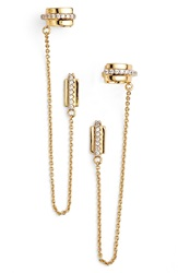 Rachel Zoe 'Stell' Pave Ear Chains Gold