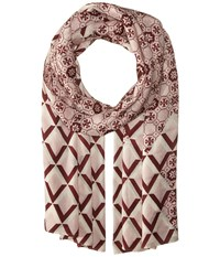 Tory Burch Logo Mosaic And Signature Print Oblong Pink Blossom Scarves Multi