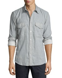 7 For All Mankind Double Face Melange Long Sleeve Sport Shirt Pale Gray Men's Pale Grey