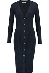 Autumn Cashmere Ribbed Cotton Cardigan Navy