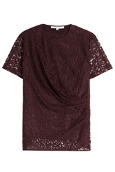 Carven Draped Lace Top Red