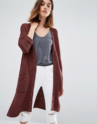 Vero Moda Long Line Side Split Cardigan Chocolate Brown