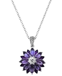 Town And Country Sterling Silver Necklace Amethyst 4 7 8 Ct. T.W. And White Topaz 1 1 5 Ct. T.W. Flower Pendant