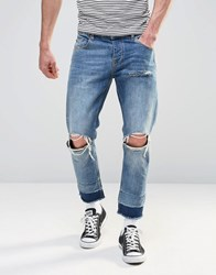 Asos Slim Jeans In Cropped Length With Knee Rips In Light Wash Light Blue