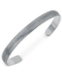 Esquire Men's Jewelry Ridged Cuff Bracelet In Sterling Silver First At Macy's
