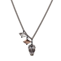 Nadia Minkoff Crystal Skull And Double Spike Necklace Black Patina