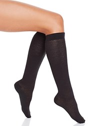 Hue Diamond Texture Knee Socks Black