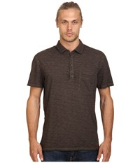 7 For All Mankind Raw Placket Polo Driftwood Men's Short Sleeve Pullover Brown