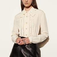 Coach Shirt With Ruffle And Fagotting Ivory