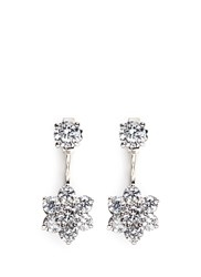 Cz By Kenneth Jay Lane Cubic Zirconia Floral Drop Stud Earrings White