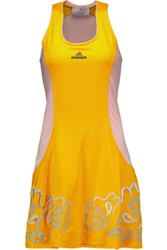 Adidas By Stella Mccartney Embroidered Two Tone Stretch Jersey Mini Dress Marigold