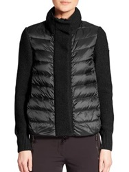 Moncler Mixed Media Cardigan Navy Black Olive