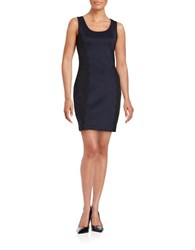 Guess Colette Lace Accented Sheath Dress Navy Black