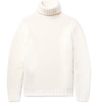 Tod's Textured Wool And Cashmere Blend Rollneck Sweater Off White