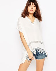 Brave Soul Collarless T Shirt With Crochet Detail And Tassels Cream
