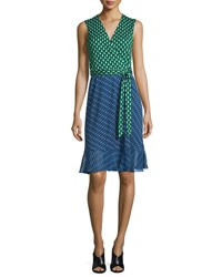Diane Von Furstenberg Bethanie Diagonal Dots Flounce Wrap Dress Green Diagonal Dots Dot
