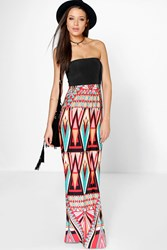 Boohoo Lani Bandeau Printed Maxi Dress Multi
