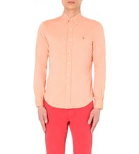 Ralph Lauren Logo Embroidered Slim Fit Cotton Shirt Orange