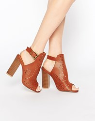 Truffle Collection Vela Cut Out Heeled Sandals Tan Pu