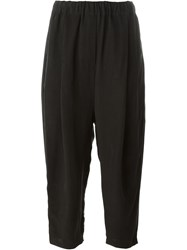 Damir Doma Elastic Waistband Cropped Trousers Black