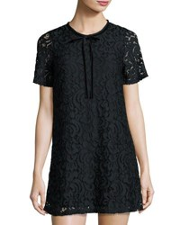 Romeo And Juliet Couture Short Sleeve Lace Overlay Shift Dress Black
