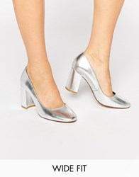 Dune Wide Fit Acapela Silver Leather Mid Heeled Shoes Silver Leather
