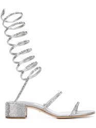 Rene Caovilla Crystal Embellished Sandals Grey