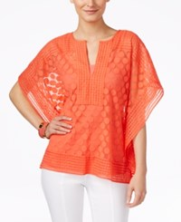 Alfani Dot Lace Poncho Top Only At Macy's Coral Blast