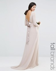 Tfnc Tall Wedding Bow Back Maxi Dress With Long Sleeves Nude Pink