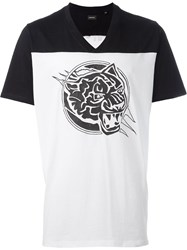 Diesel Contrast Shoulder Logo Print Long V Neck T Shirt White