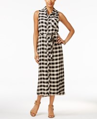 G.H. Bass And Co. Plaid Midi Shirtdress Sandy Combo