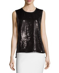 Laundry By Shelli Segal Sleeveless Sequined Tank Black